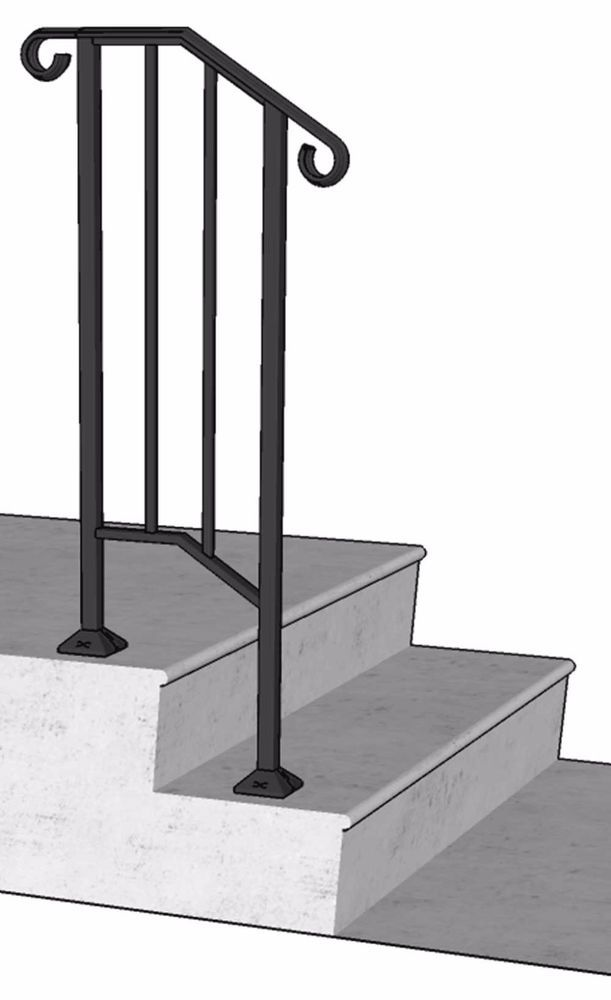Best Details About Iron X Handrail Picket 1 Railing Rail Fits 640 x 480