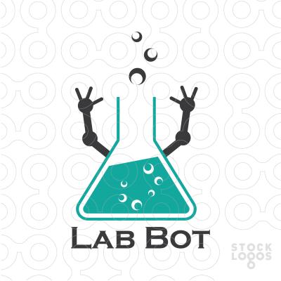 Unique Logo Design Consists Of Laboratory Flaskchemical Fluid With