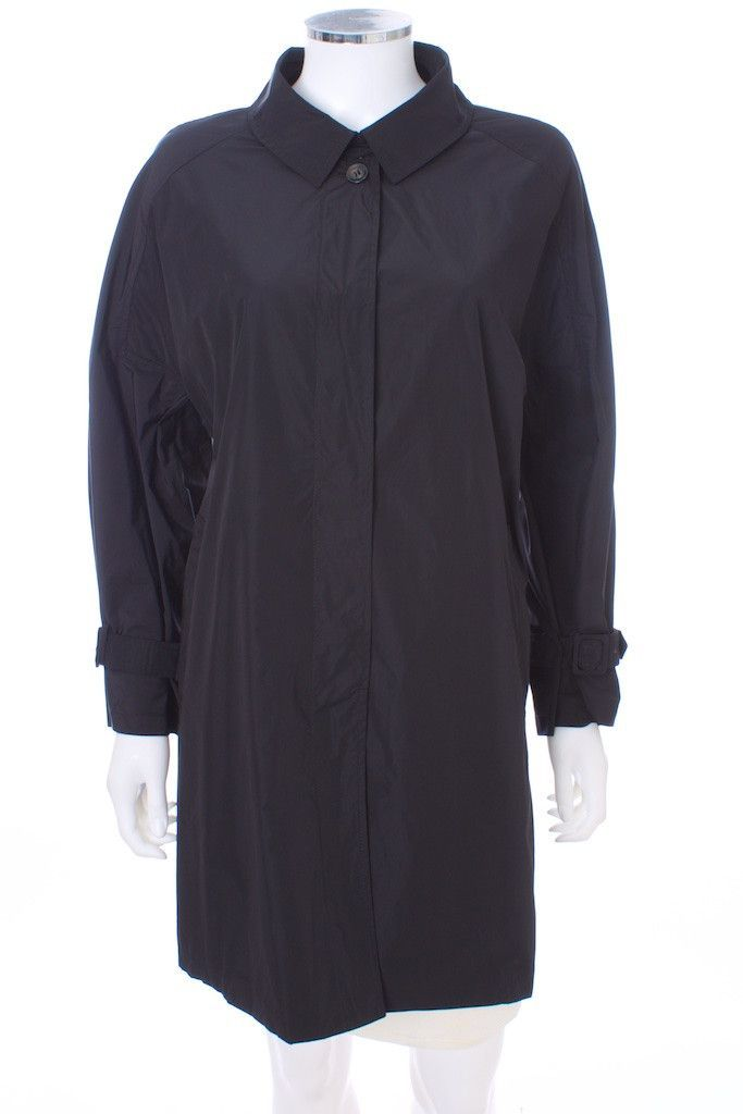 WEEKEND BY MAX MARA RAIN TRENCH COAT BLACK SIZE 16