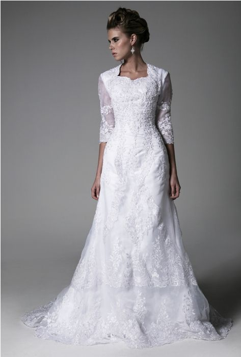 Lds temple ready wedding dress modest wedding gowns for Mormon modest wedding dresses