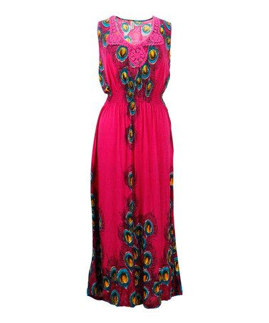 Another great find on #zulily! Fuchsia Peacock Lace-Yoke Maxi Dress - Plus #zulilyfinds