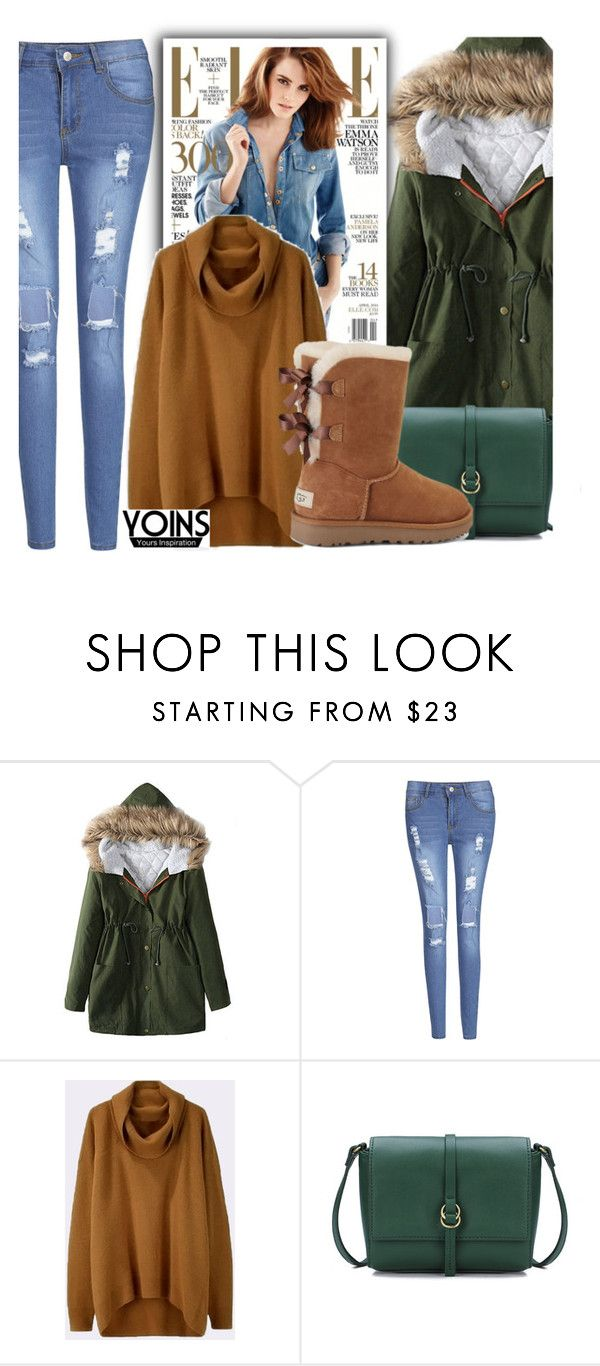 """""""Yoins green Fur Hooded Lace-up Thickened Padded Coat"""" by fattie-zara ❤ liked on Polyvore featuring UGG, yoins, yoinscollection and loveyoins"""