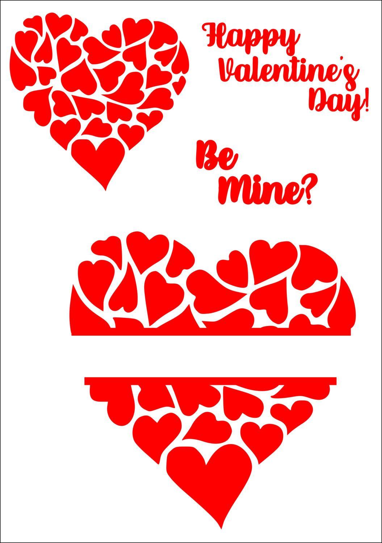 Decorative heart svg, Split heart svg, Valentine heart svg