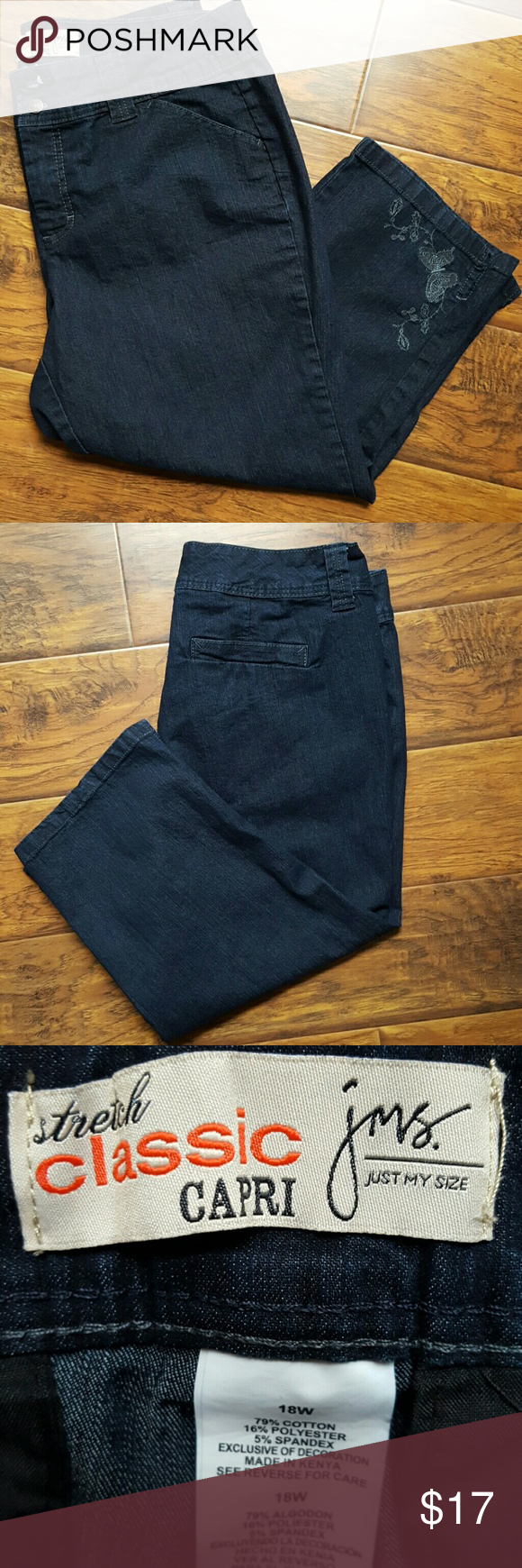 Denim stretch classic Capri Just My Size sz 18W Nice dark denim stretch classic Capri Just My Size sz 18W.   Bundle 2 or more items and save 15% instantly at checkout! Just My Size Pants Capris