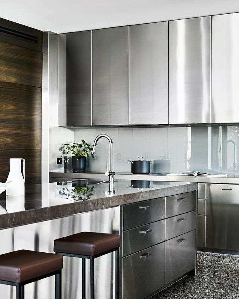 The Kitchen At Our Winter Street Residence Was Deigned To Suit The Lifestyle Of Ou Stainless Steel Kitchen Cabinets New Kitchen Cabinets Steel Kitchen Cabinets