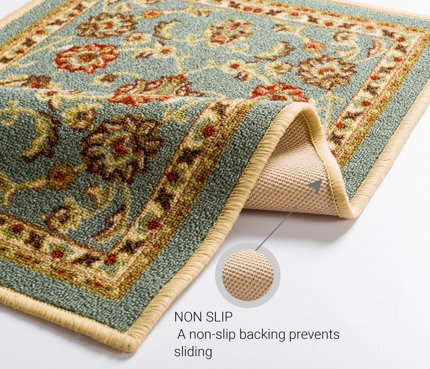 Well Woven Nonskid Slip Rubber Back Antibacterial 3x12 27 X 12 Runner Rug Timeless Oriental Blue T Well Woven Traditional Persian Rugs Indoor Outdoor Area Rugs Washable throw rugs with rubber backing
