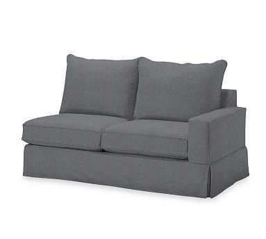 PB Comfort Square Arm Right Arm Love Seat Knife-Edge Slipcover, Linen Blend Gunmetal Gray