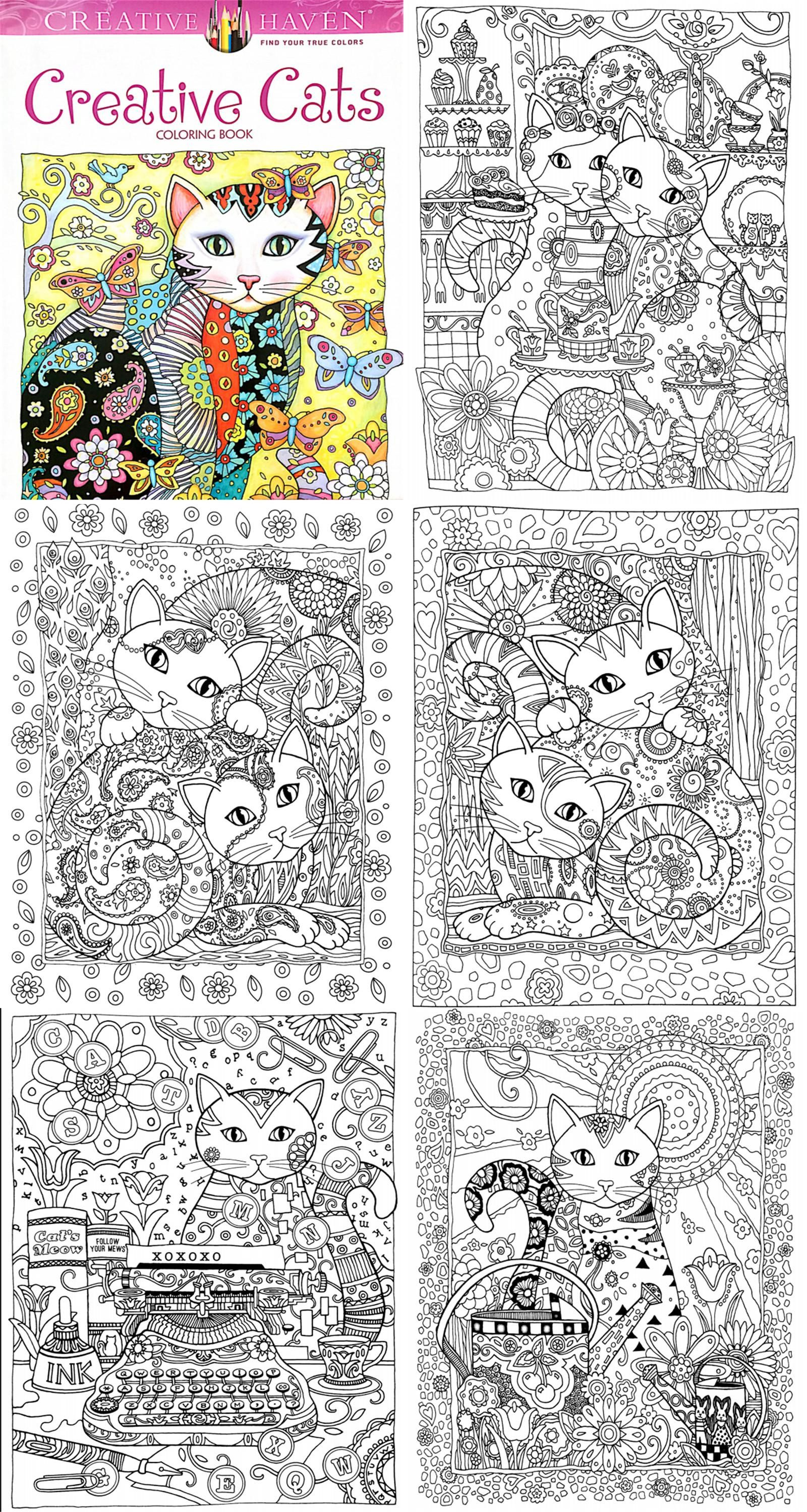 Stress relieving cats coloring -  Visit To Buy 24 Pages 18 5x21cm Colouring Book Creative Haven Creative Cats Coloring