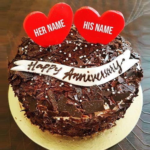 Write Name On Beautiful Chocolate Cake For Anniversary Cake
