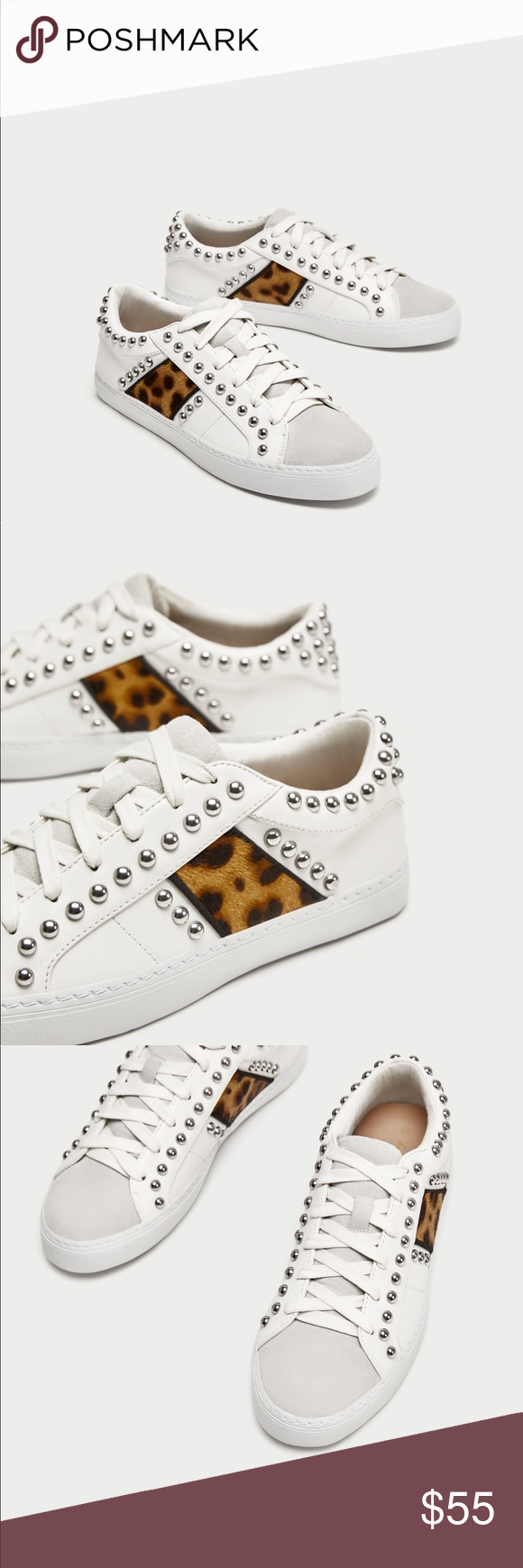 3a8373c5aabb NWT Zara White Studded Sneakers with Leopard Print White sneakers with  silver embellishments and leopard print. White sneakers with contrasting  colours and ...