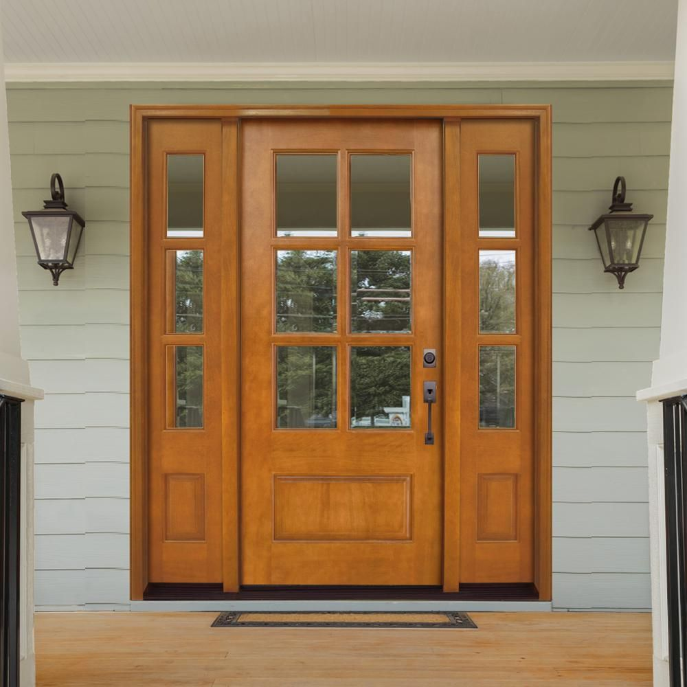 Steves Sons 68 In X 80 In Craftsman Savannah 6 Lite Lhis Autumn Wheat Mahogany Wood Prehung Front Door With Double 14 In Sidelite M6410 143014 Aw 4ilh Th Exterior House Doors Entry