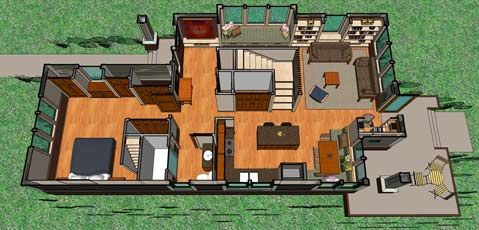 Not So Big Bungalow main level plan a SIPs kit house Sarah Susanka