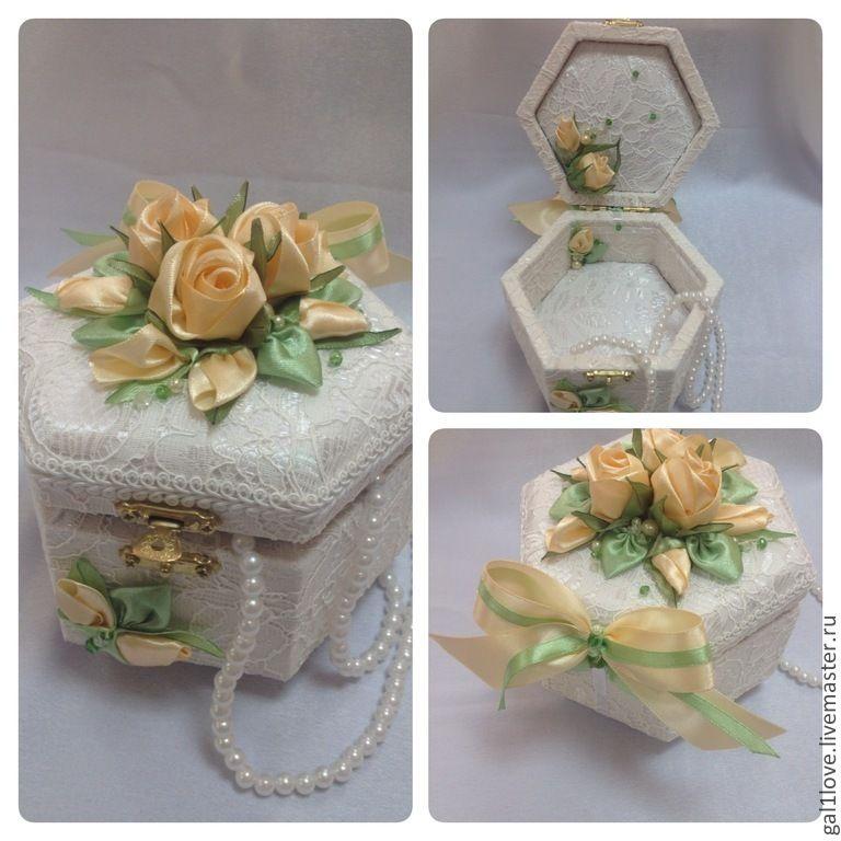 """Купить Шкатулка """"Нежность"""" вышитая лентами выполнена Галичкиной Любовью - белый, шкатулка, розы, подарок....(very exquisite!)..."""