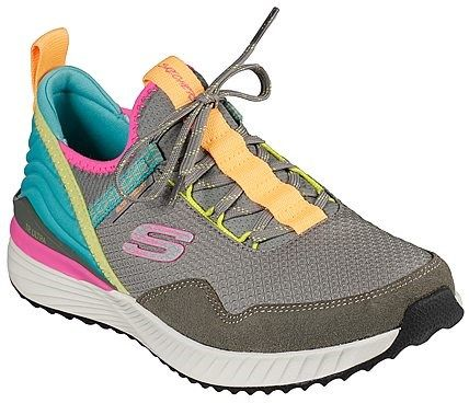 Take your comfort and colorful style offroading with the SKECHERS TR Ultra shoe. Soft woven ripstop mesh soft suede and neoprene fabric upper in a slip on laced-front trail walking and hiking sneaker with shock absorbing midsole and Air Cooled Memory Foam insole. ,