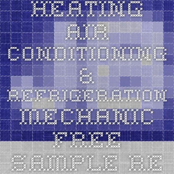 heating air conditioning refrigeration mechanic free sample resume