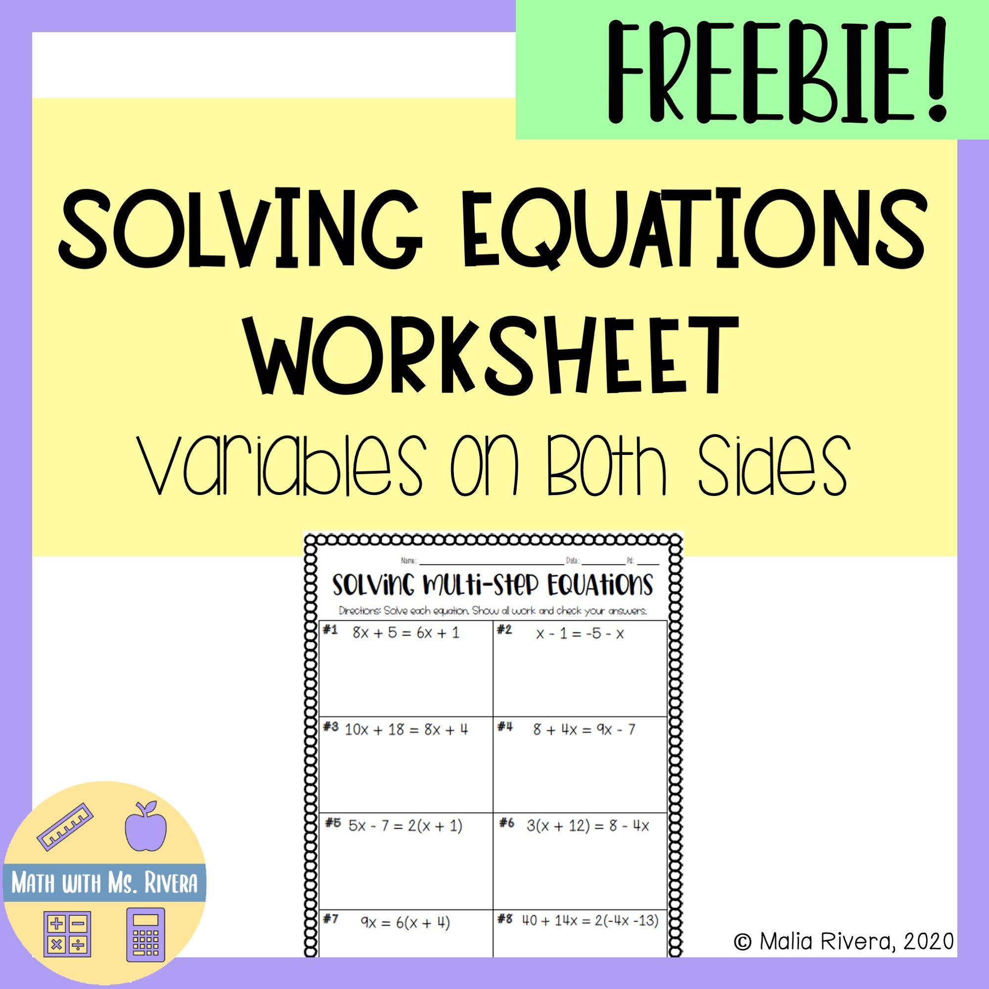 Solving Multistep Equations With Variables On Both Sides