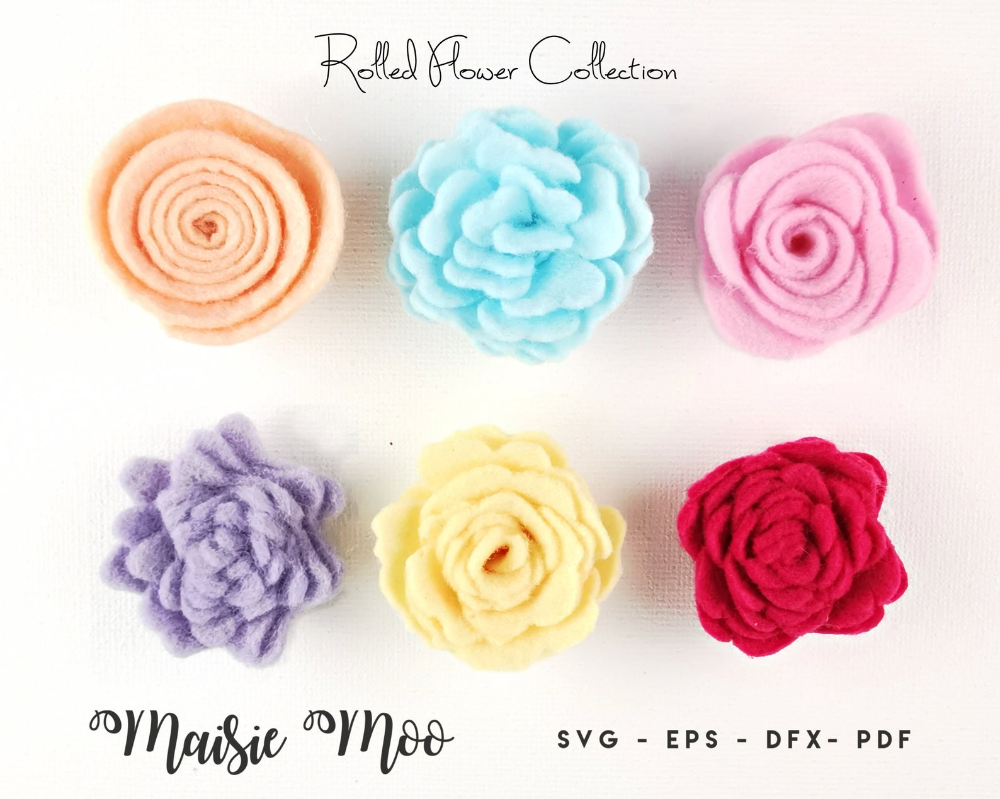 Rolled Felt Flower SVG, Felt Flower Template ,Felt Flower PDF Pattern, 3D Felt Flower Pattern, DIY Fabric Flower, Cricut Flower