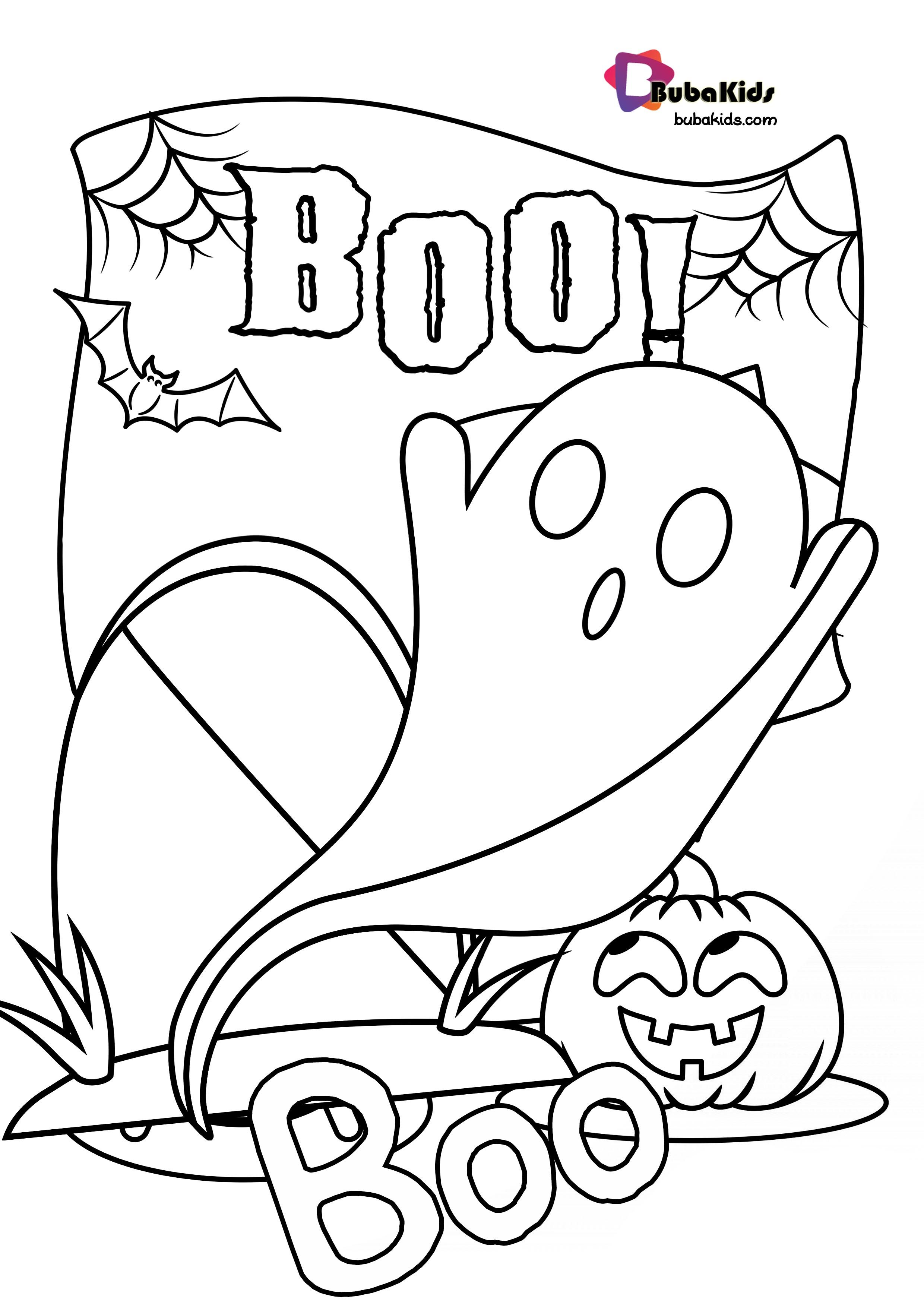 Bubakids Boo Halloween Coloring Page Boo Coloringpage Halloween Boo Coloringpage Hal Halloween Coloring Cartoon Coloring Pages Halloween Coloring Pages