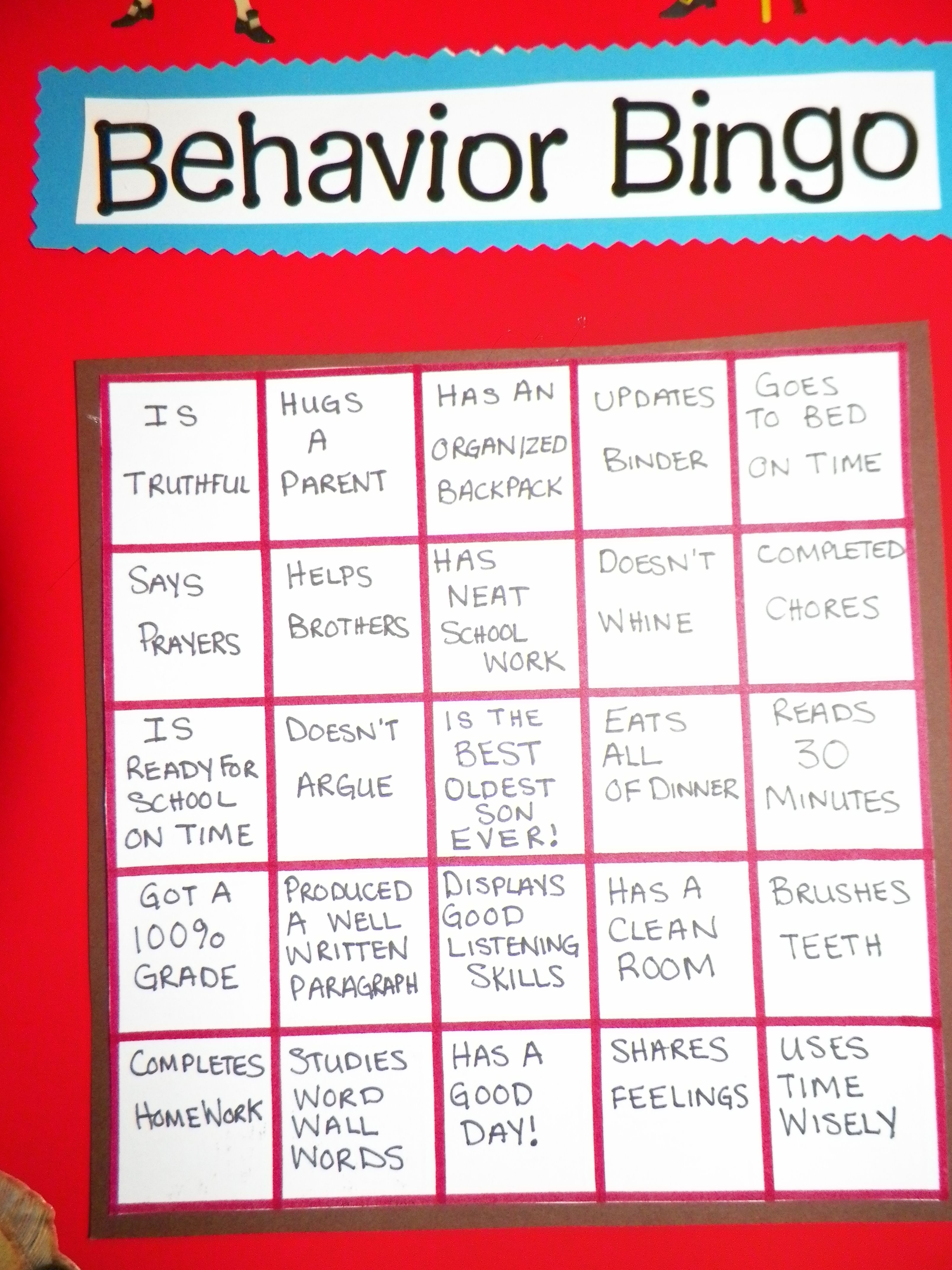 My 8 Year Old S Behavior Chart