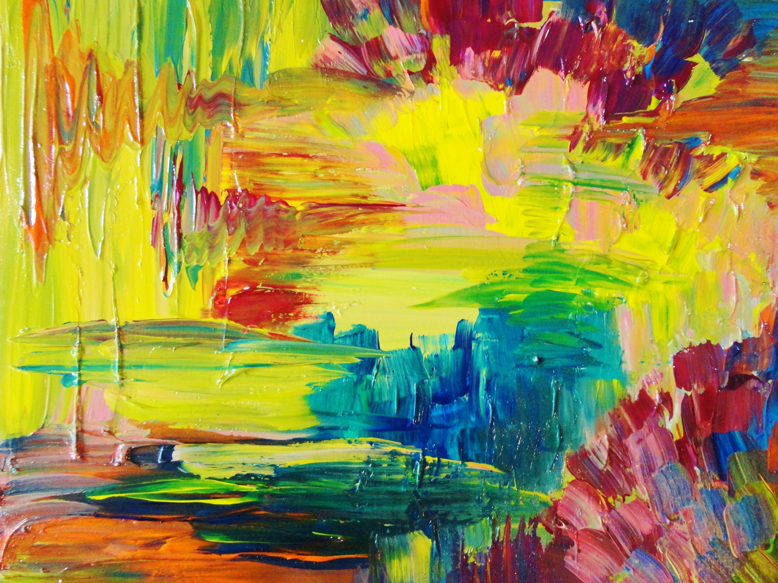 Abstract Acrylic Painting, Bright Bold Color 16 X 20 FREE ...