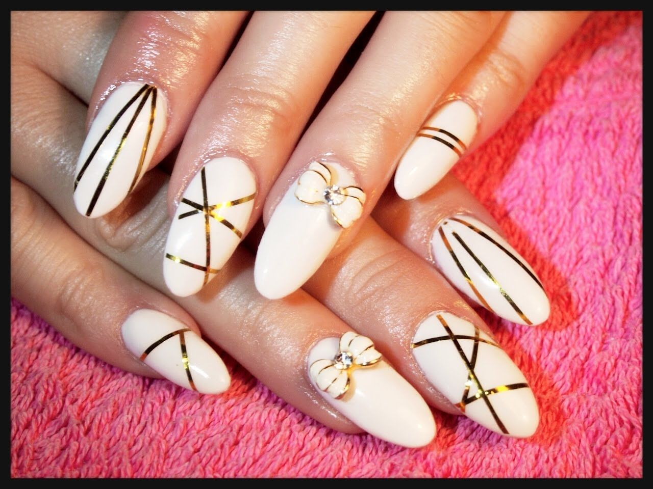 Acrylic Nails Infill ~ White & Gold | Kelly\'s Nails | Pinterest ...