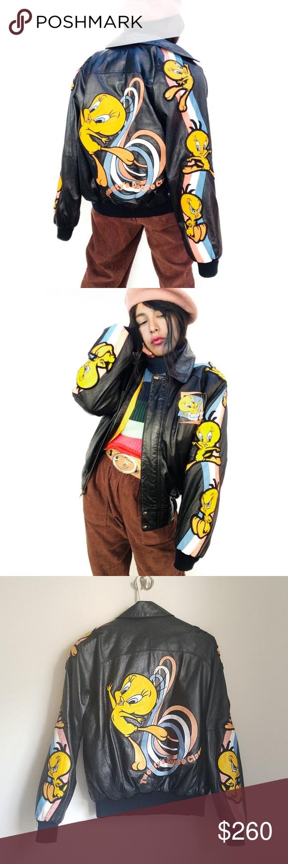 Vtg 90s Looney Tunes Rainbow Tweety Leather Jacket Dreamy Vtg 90s Looney Tunes Tweety Pastel Rainbow Stripes Leath Leather Bomber Jacket Vintage Jacket Jackets [ 1740 x 580 Pixel ]