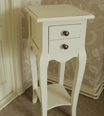 Ivory Bedside Small Chateau Side Table 2 Drawers Ornate Slim