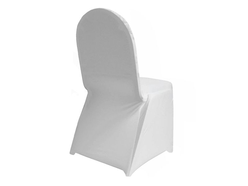 Swell 160 Gsm White Stretch Spandex Banquet Chair Cover With Foot Pabps2019 Chair Design Images Pabps2019Com