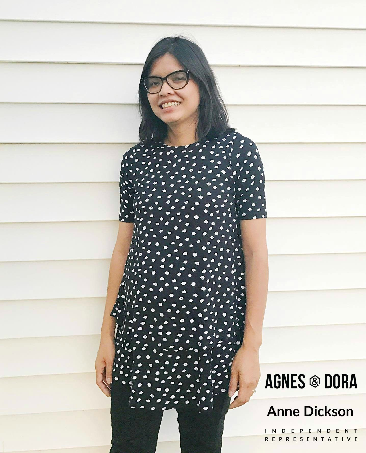 Limited Edition Agnes and Dora - half sleeve Tiered Tunic - black ...