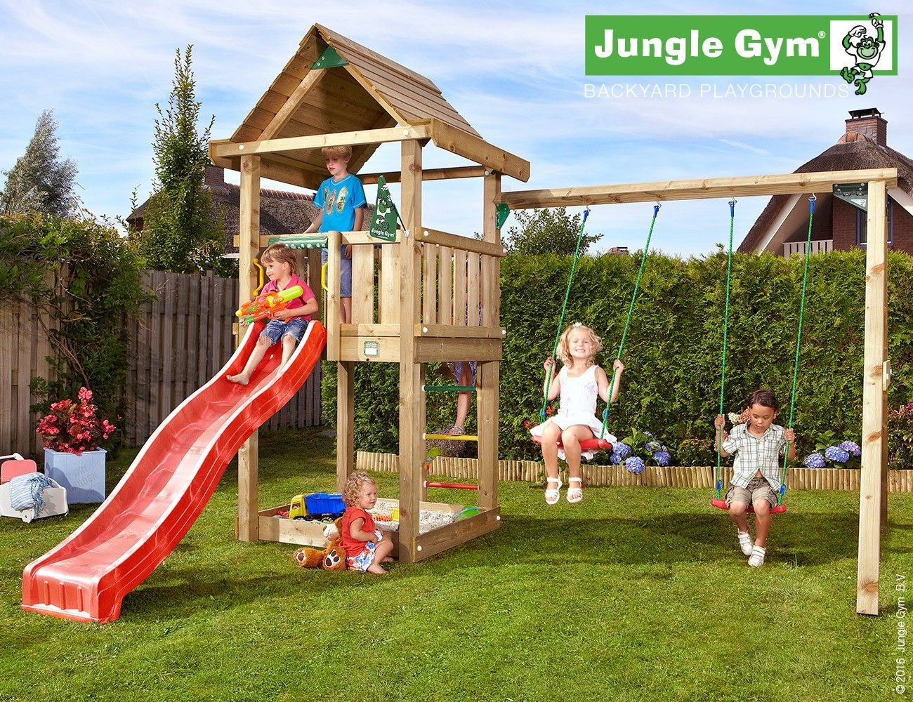 Jungle Gym House (with slide) and Double Swing Module