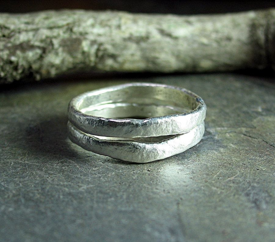 Pure Silver Textured Stackable Rings Set of Two - Summerlight.      ...from Lavender Cottage on Etsy