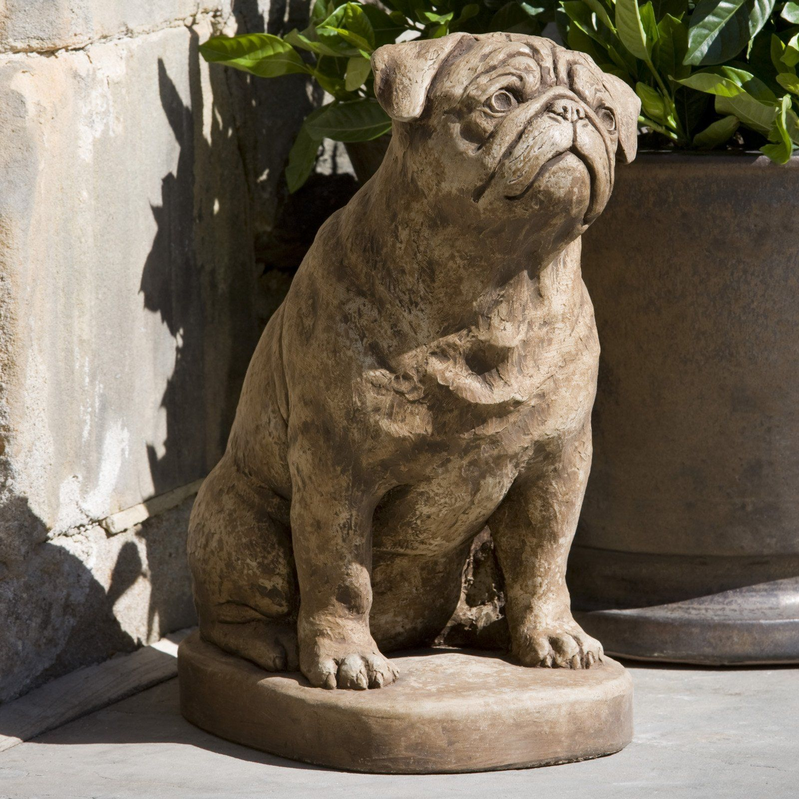 Campania International Mugsy The Pug Dog Cast Stone Garden Statue   Garden  Statues At Hayneedle