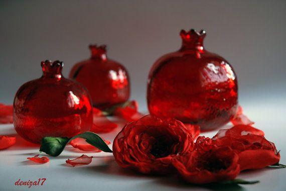 3 vetro rosso melograno di DenizasDecor su Etsy