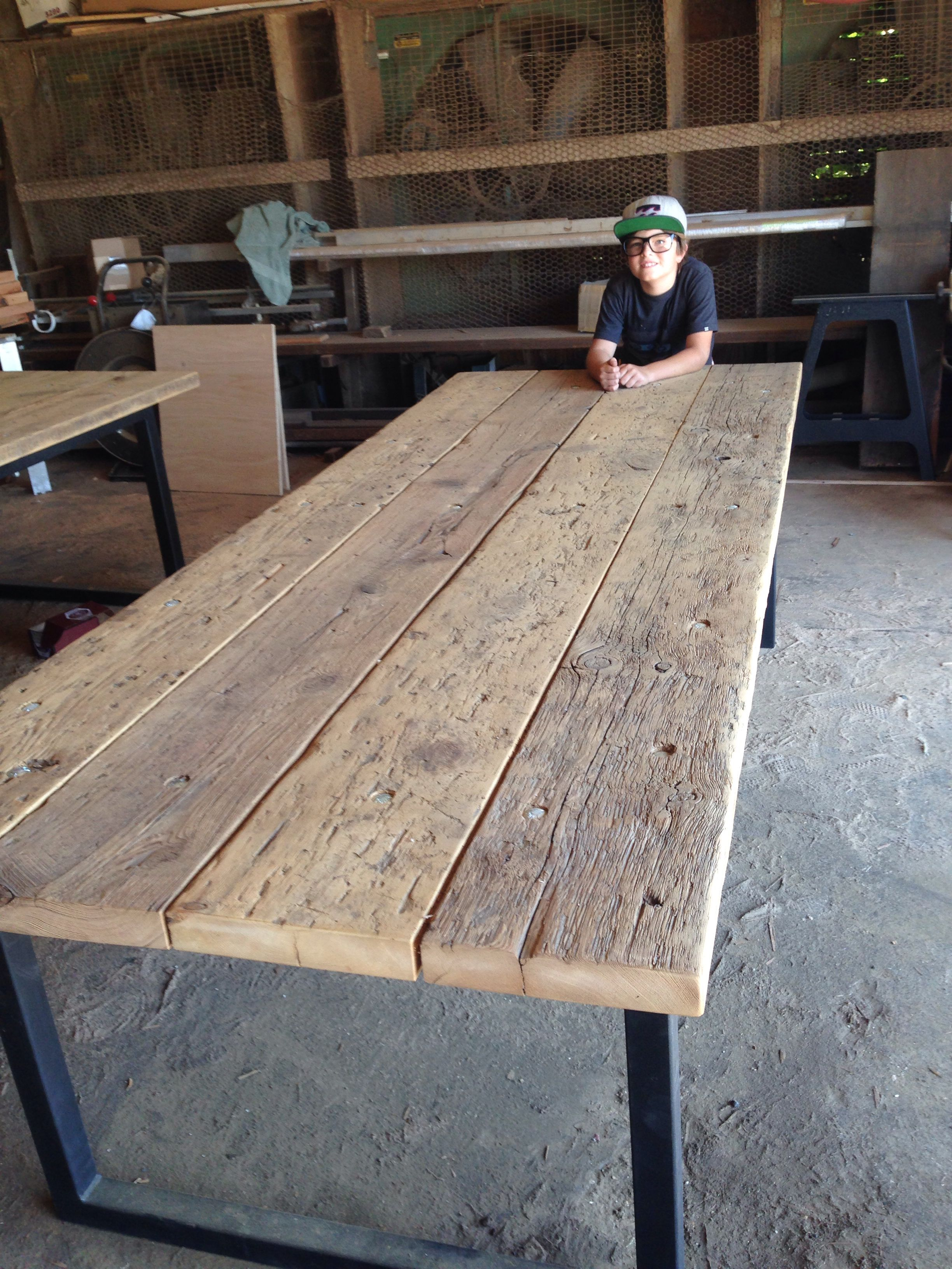 Antique Barn Threshing Community Table Wood Patio Table Rustic