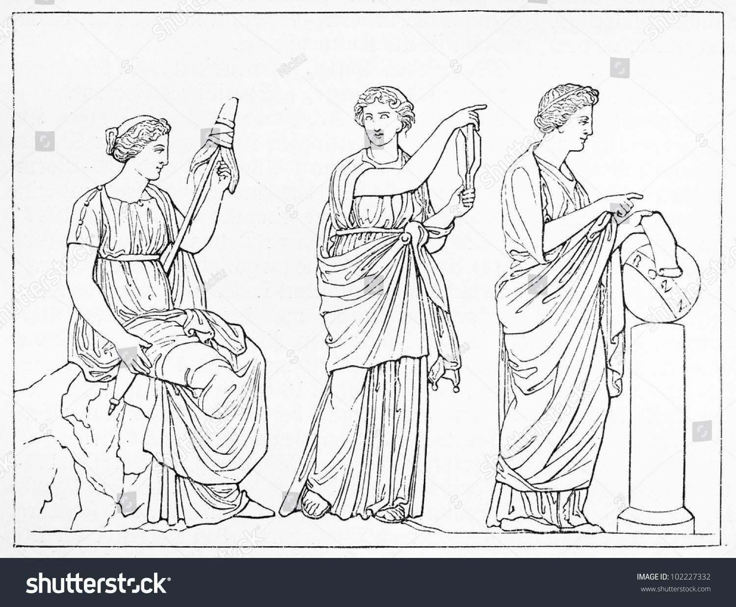 vintage drawing of the three fates clotho lachesis and atropos in greek mythology picture from meyers lexikon book written in german language