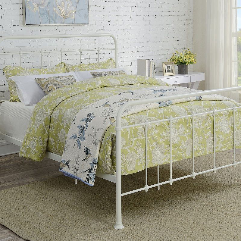 Curved Queen Metal Bed White metal bed, Metal beds
