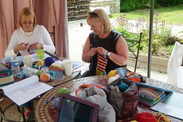 Knitting Holidays In France : Annabelle tracy working hard on their squares france