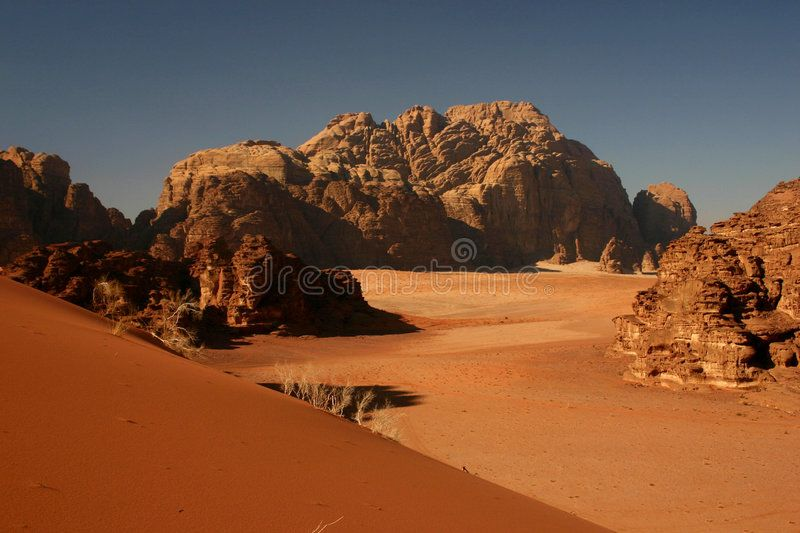 Red dune in Wadi Rum. Red dune and huge rock formations in Wadi Rum desert, Jord , #Ad, #Wadi, #Rum, #Red, #dune, #huge #ad #wadirum