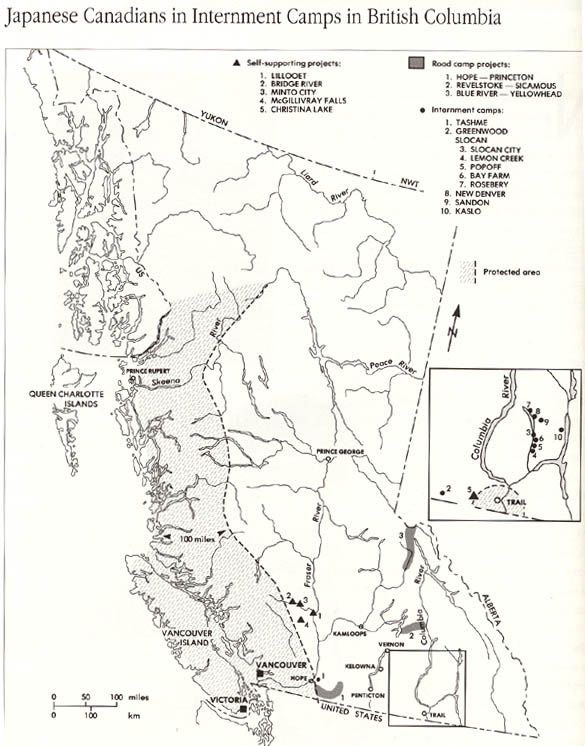 Map of Japanese-Canadian internment camps during WW2. | Go For Broke ...