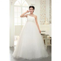 $89.27 Graceful Appliques and Handmade Flower Embellished One-Shoulder Wedding Dress For Bride