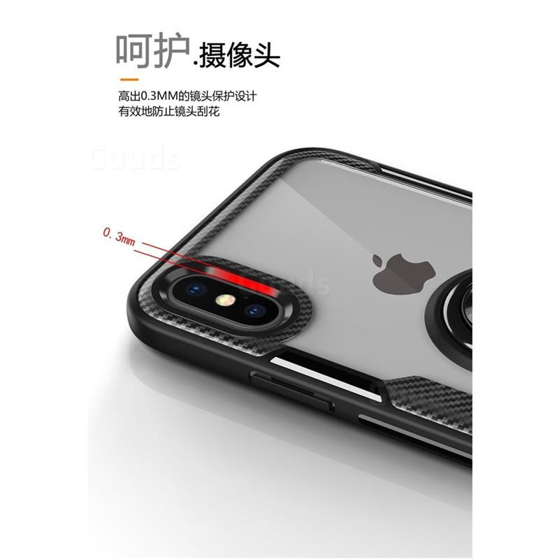1e6c80e7576a7f Acrylic Glass Carbon Invisible Ring Holder Phone Cover for iPhone XS Max  (6.5 inch)