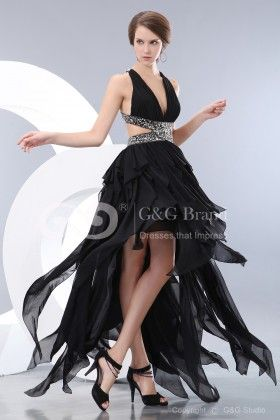 Asymmetrical Cocktail Dresses,Natural Black Chiffon Ruched/Beading/Sequins/Crystals(GGCPD1332-WDD60176)