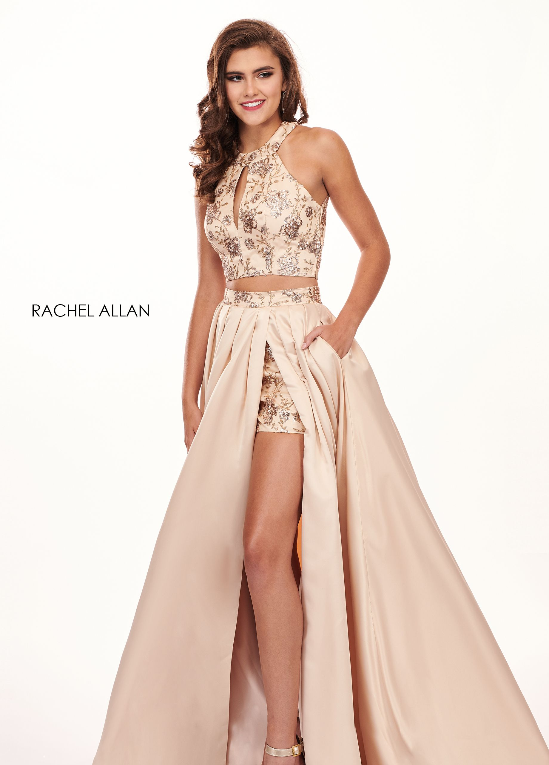83aec827f7a1 High Neckline Shorts W/ Overlay Prom Dresses in Gold Color   Evening ...