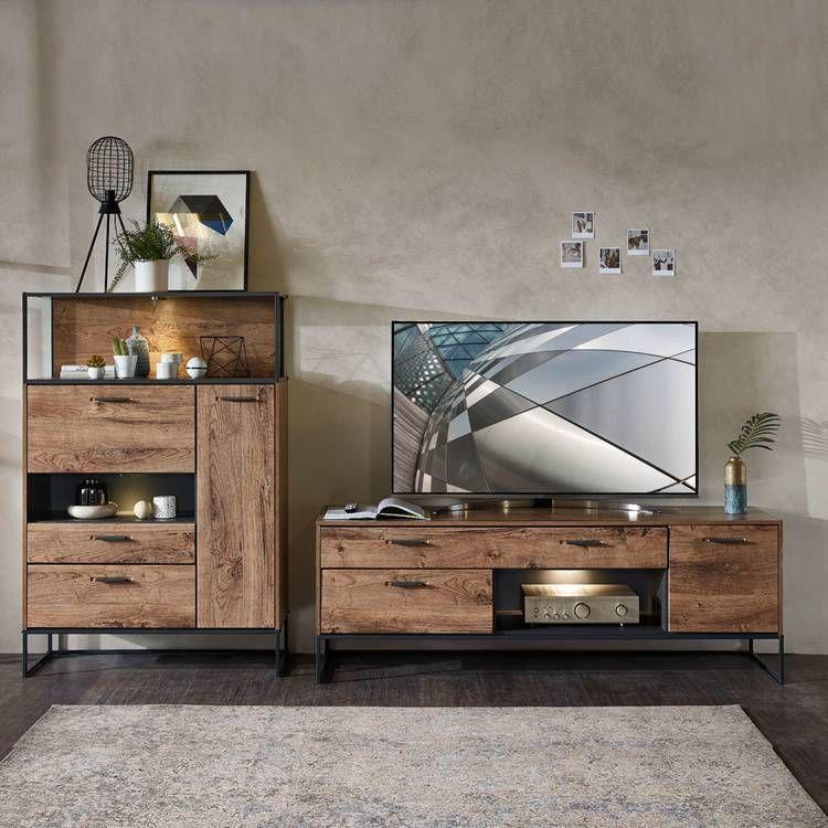 Wohnzimmer Möbel Serie MINNEAPOLIS-55 in Haveleiche Cognac mit graphit, Selbst zusammenstellen