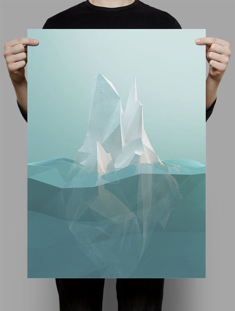 low poly iceberg created using cinema 4d illustrator runar finanger