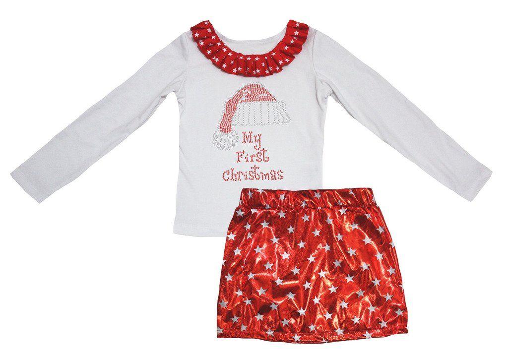 Petitebella My First Christmas White L s Shirt Stars Red Bling Skirt Set 1- 7da3de563