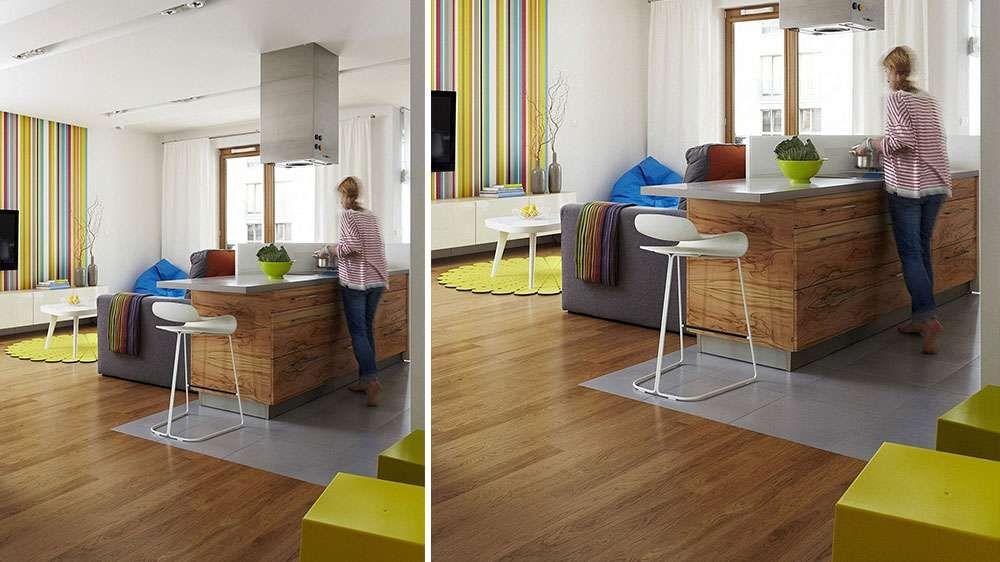 Cuisine ouverte contemporaine parquet et façade meubles cuisine bois