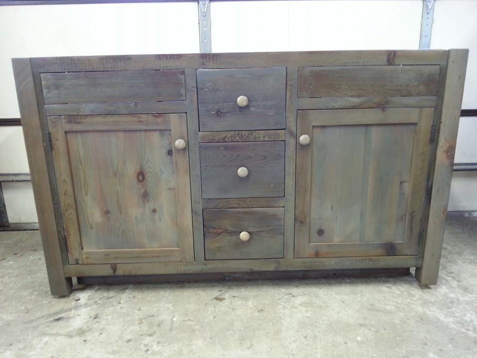 "Unfinished Custom Bathroom Vanities amish built unfinished reclaimed barnwood 60"" custom bathroom"