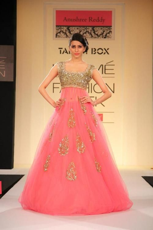 gorgeous pink frock with gold works