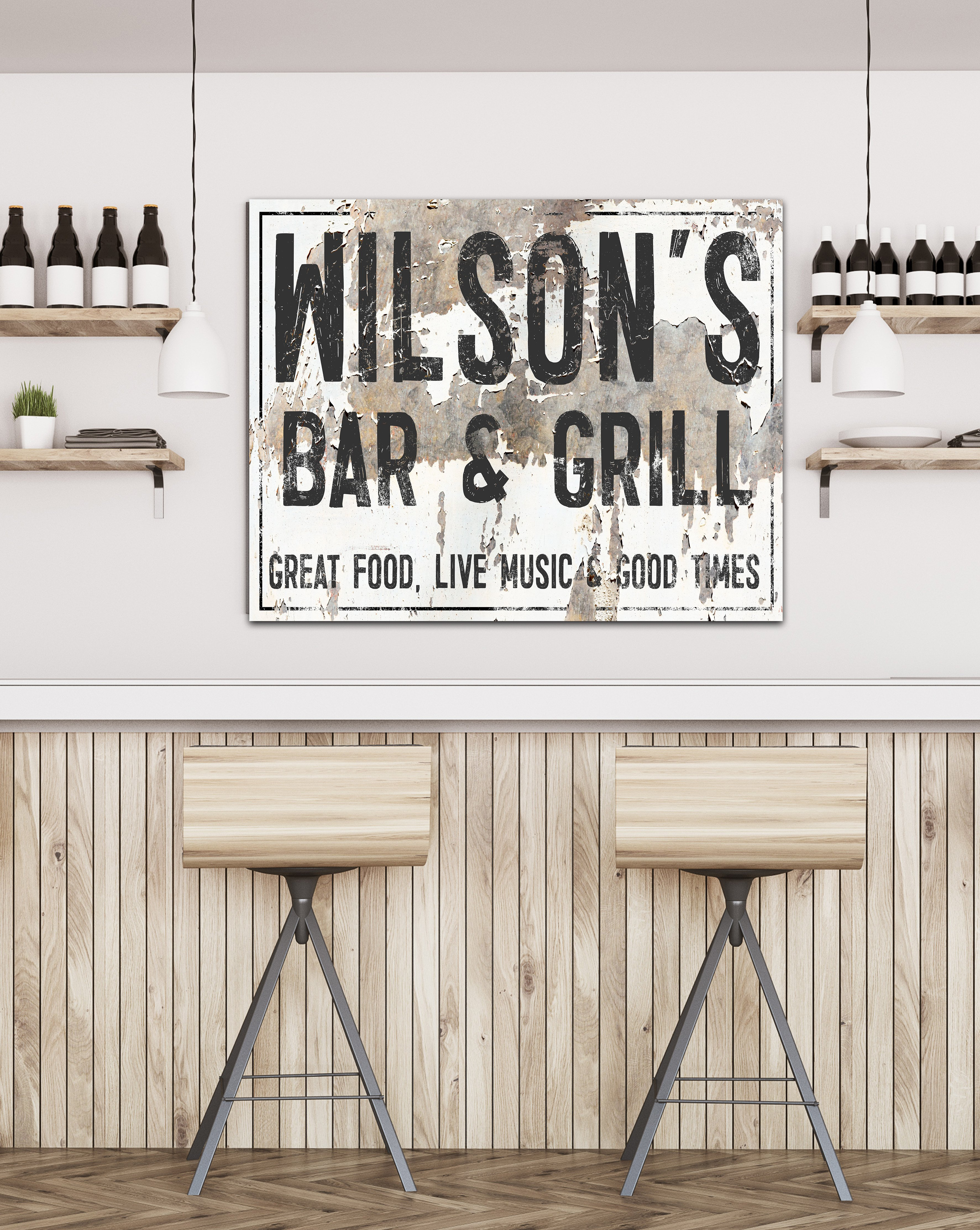Personalized Vintage Bar Sign Canvas Art Personalized Farmhouse